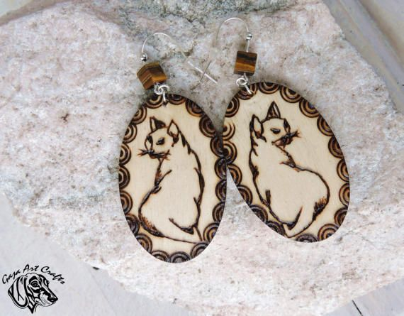 Wooden cat earrings - Boho style cat earrings - Dangling wooden cat earrings with Tiger's eye gemstone - Valentine's gift for her