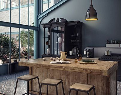 LOFT KITCHEN DESIGN by Emotion School an interior design / industrial design mashup. #industrialdesign #interiordesign #home