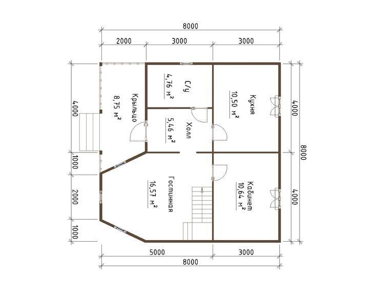 Готовый проект каркасного дома 8,5X7 от Строительной компании «ДОМ МЕЧТЫ».