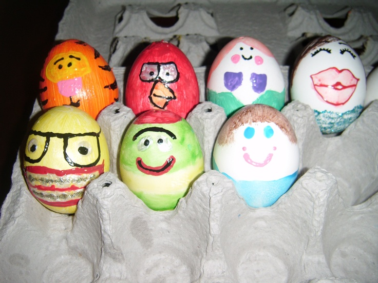 these are my place markers for the kids easter table, each egg represents something the child likes