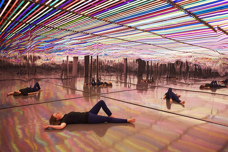 liz west surrounds visitors in an additive mix of mirrors, color, and light