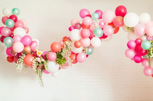 Flamingo Pop. A bridal collaboration with BHLDN and The House That Lars Built. Flowers by Tinge. Balloons from Zurchers. Photo by Jessica Pe...
