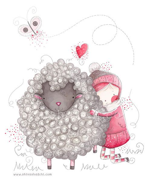 Children Illustration - Nursery Illustration, Little Cute Sheep And Baby Girl - Love and Friendship