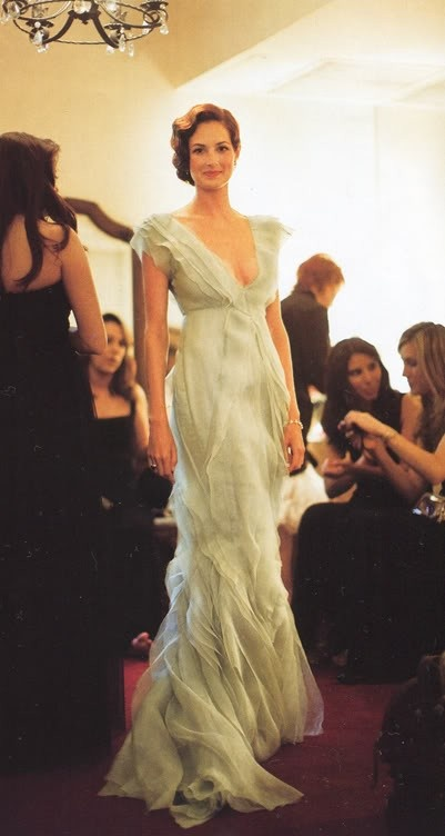 Taylor Tomasi Hill J Mendel Wedding dress or pale blue green bridesmaid dress