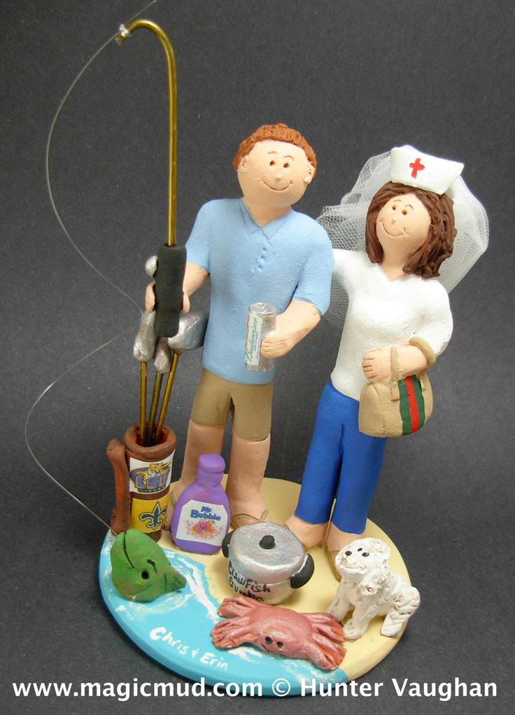 Fisherman Catches Nurse Bride Wedding Cake Topper http://www.magicmud.com   1 800 231 9814  magicmud@magicmud.com $235  https://twitter.com/caketoppers         https://www.facebook.com/PersonalizedWeddingCakeToppers   #nurse#nursing#wedding #cake #toppers #custom #personalized #Groom #bride #anniversary#fisherman #birthday#weddingcaketoppers#cake-toppers#figurine#gift#wedding-cake-toppers