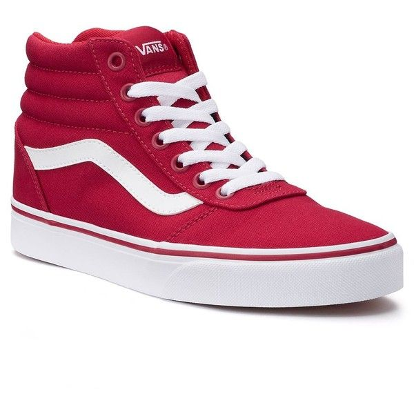 Vans Ward Hi Women's Canvas Skate Shoes ($65) ❤ liked on Polyvore featuring shoes, sneakers, dark red, vans trainers, lace up sneakers, skate shoes, vans high tops and vans sneakers