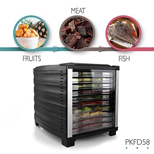 Amazon.com: NutriChef Food Dehydrator | Multi Tier Shelf | Food Preservation System | Beef Jerky Maker | Fruits, Vegetables | Survival Foods W Long Shelf Life | Stain Resistant | 10 Slide Out Dryer Trays - 120V: Kitchen & Dining