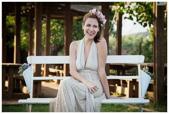Bohemian Wedding Dress Champagne Lace Wedding Dress by mimetik