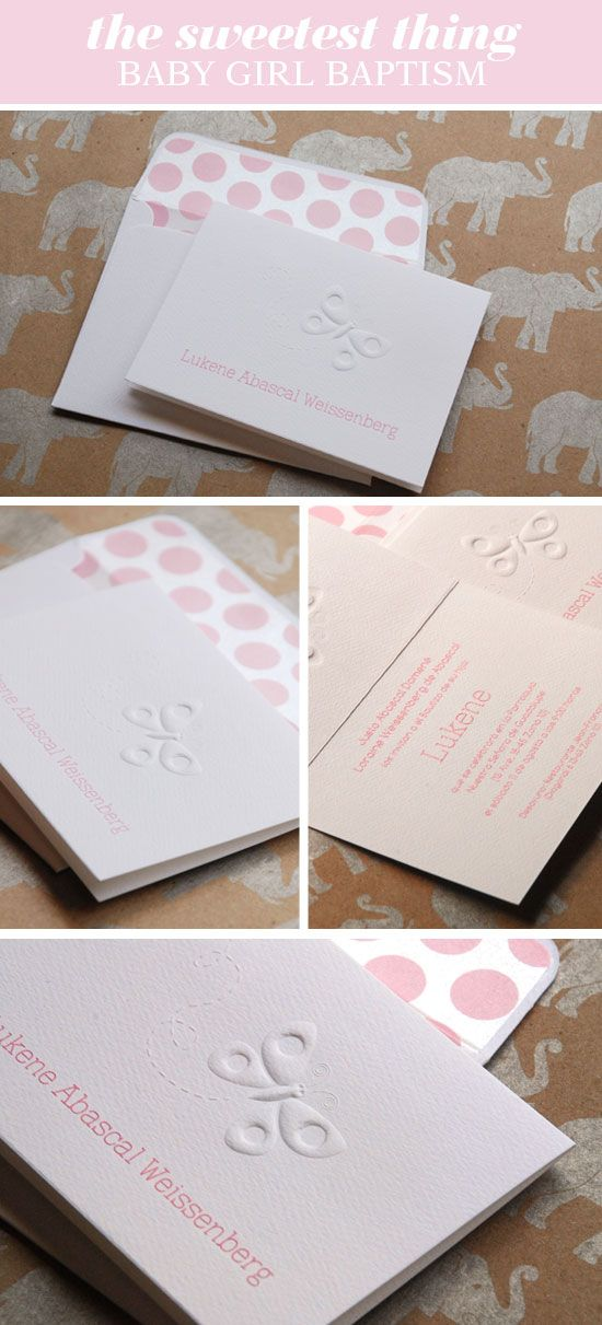 baby girl baptism christening invitation embossed 198