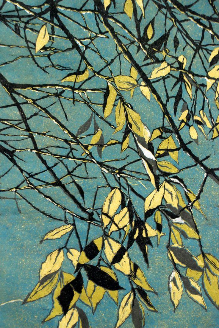 """""""River Birch"""" linocut by Lisa VanMeter."""