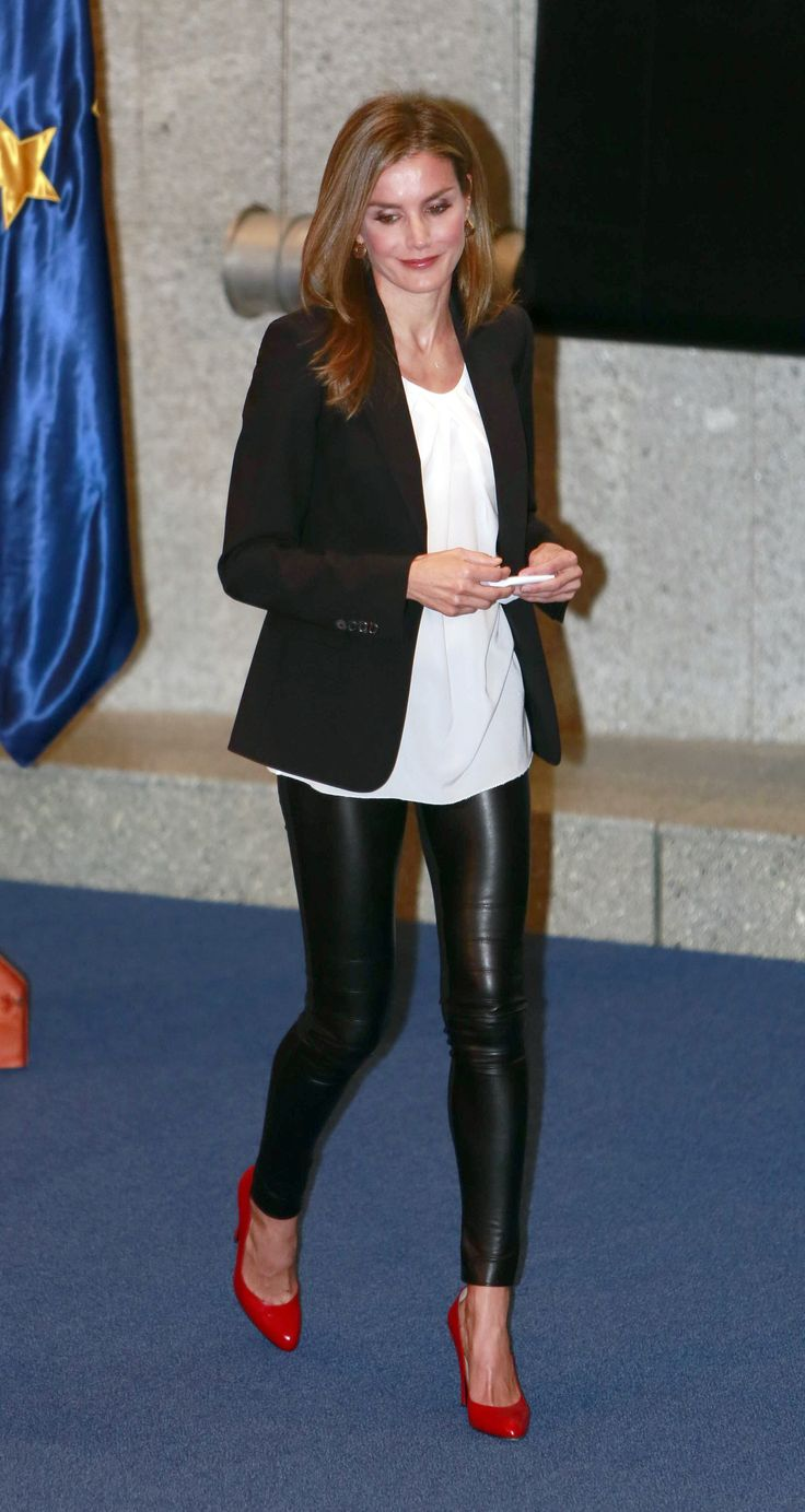 Because she's a royal and she wears leather pants. | 30 reasons why Queen Letizia of Spain should be your new style icon http://aol.it/1uLAlYk
