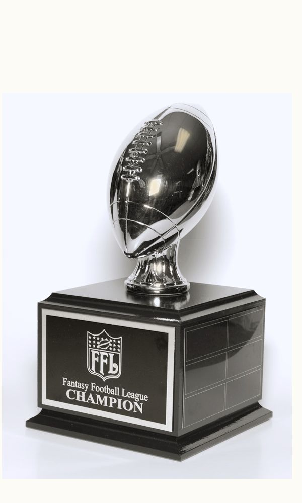 9.75″ Overall Height Fantasy Football  Traveling Trophy. Silver Resin