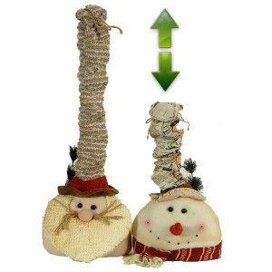 Υφασμάτινες κεφαλές Άι Βασίλη και χιονάνθρωπου με αναπτυσσόμενο καπέλο