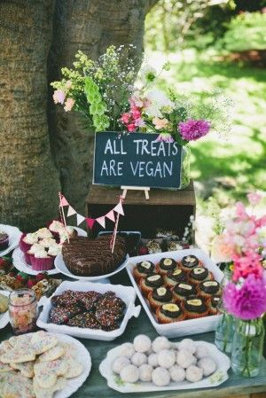 Cute picnic party set up. I like the idea of showing that you can have tasty treats that are vegan too!
