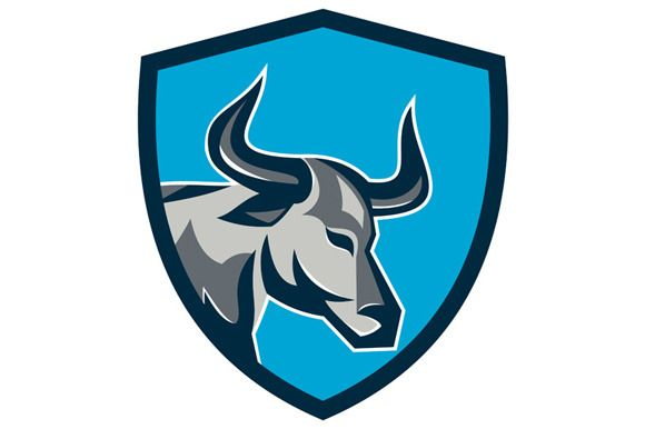 Texas Longhorn Bull Head Shield Retr by patrimonio on Creative Market