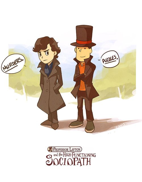 I'm throwing all of my money at the screen, but for some reason this Professor Layton/Sherlock crossover game still doesn't exist.
