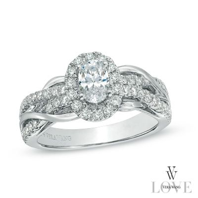 Vera Wang LOVE Collection 1 CT. T.W. Oval Diamond Loose Braid Engagement Ring in 14K White Gold