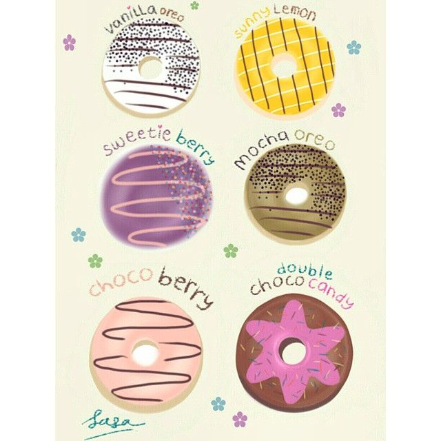 Donuts Drawing . Vanilla Oreo, Sunny Lemon, Sweetie Berry, Mocha Oreo, Choco Berry, Double Choco Candy. Yummy !!! Instagram photo by me >> @dewisarassati13
