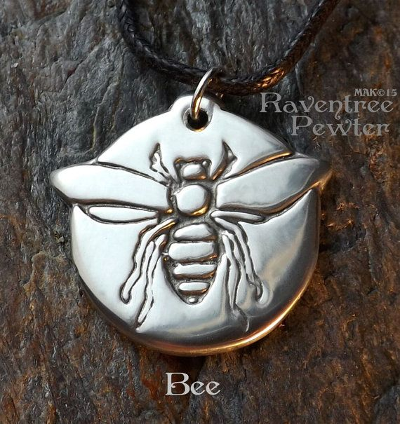 Bee Pewter Pendant Bee Keeper and Honey by RaventreePewter