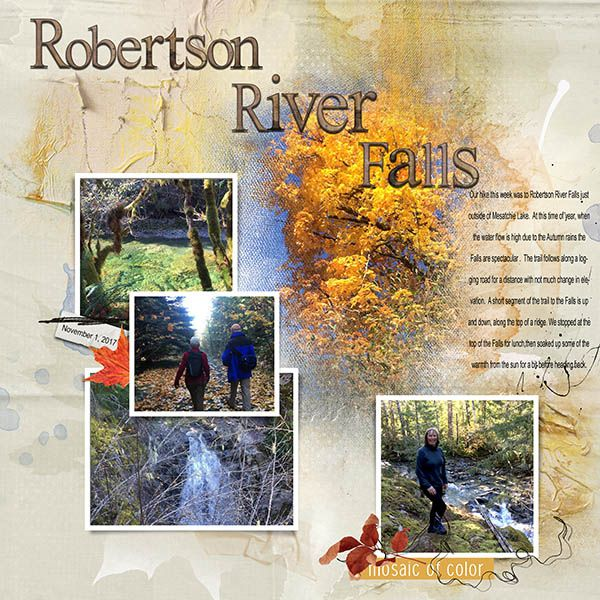 A very lovely hike last week to Robertson River Falls, not quite as spectacular as it could have been, the water levels have dropped quite a bit in the past couple of weeks.  Still stunning colours and a nice hike! All products are from Anna Aspnes Designs at Oscraps