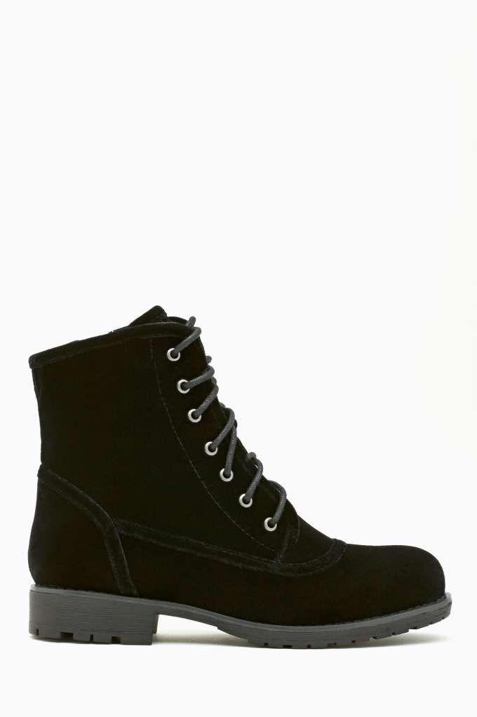Nastygal Shoe Cult Converge Combat Boot in Black Velvet - $110