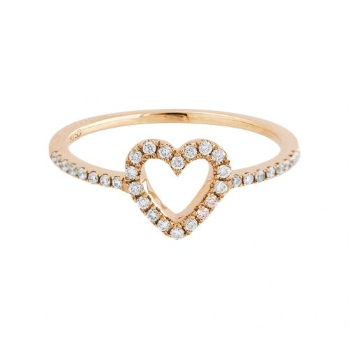 Heart ring with rose gold 18 k and white diamonds.