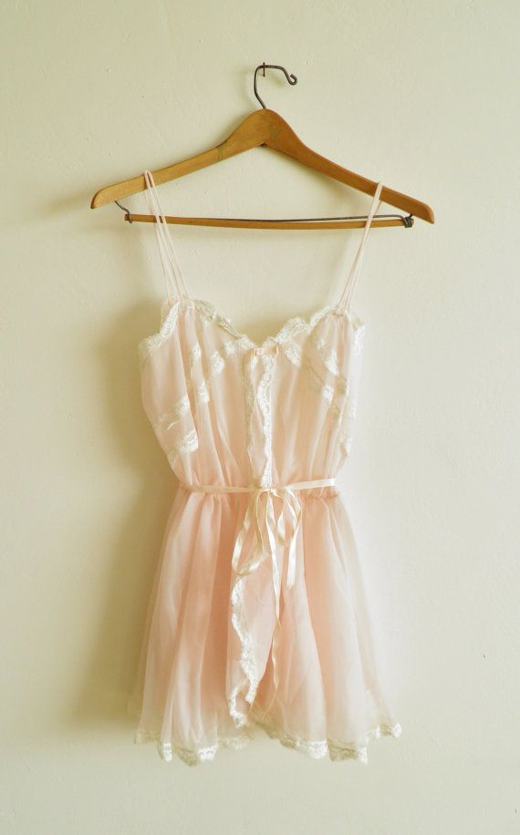 Vintage Lace and Chiffon Lingerie in Soft Pink $74 - Budoir Session for the hubbs to enjoy