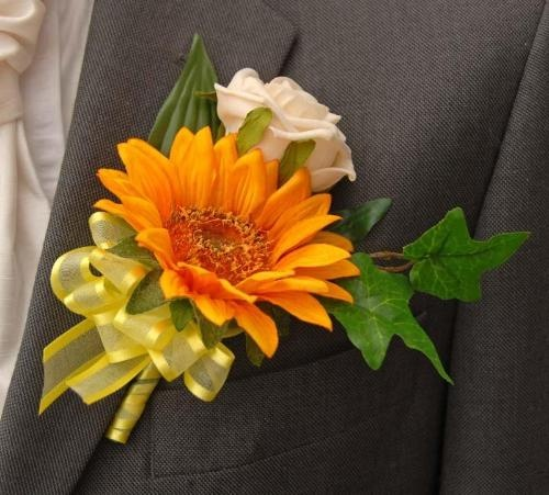 sunflower corsages | Grooms Golden Sunflowers and Rose Wedding Buttonhole | Groom's ...
