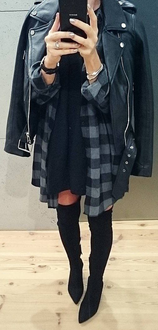 #fall #outfits Leather Jacket // Knee Length Boots // Printed Shirt // Black Dress