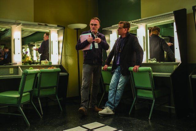 Still of Danny Boyle and Aaron Sorkin in Steve Jobs (2015)
