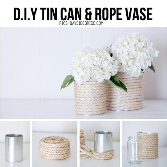 DIY: Jarrones con Latas o Botes de Cristal y Cuerdas