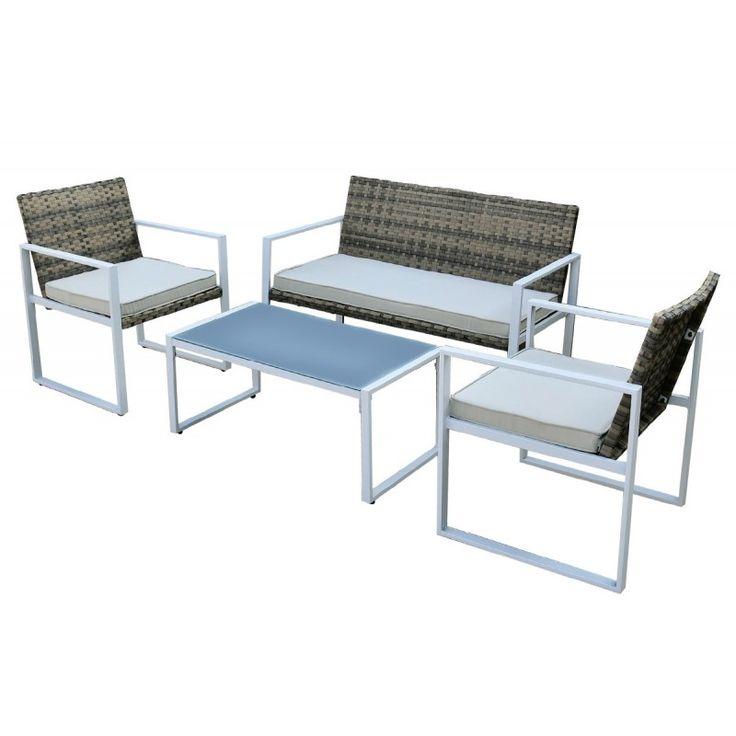 Bekker garden seating group set 4pcs steel white wicker rocky brown Ε6703