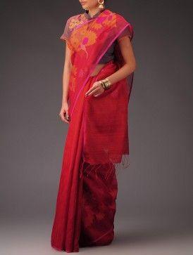 Fuschia-Red Matka Silk Sequins Jamdani Half and Half Saree