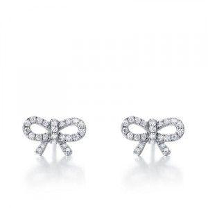Beautiful Diamond Knot Earrings on10k White Gold