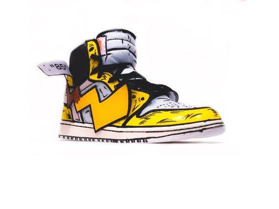 Pikachu inspired off white jordan 1 | Custom Sneakers in