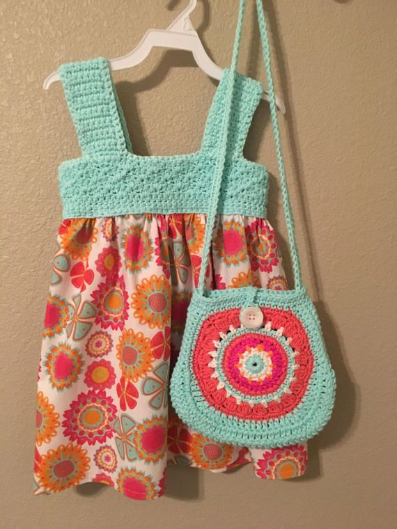 Crochet and Fabric Dress Sleeveless Toddler Dress with
