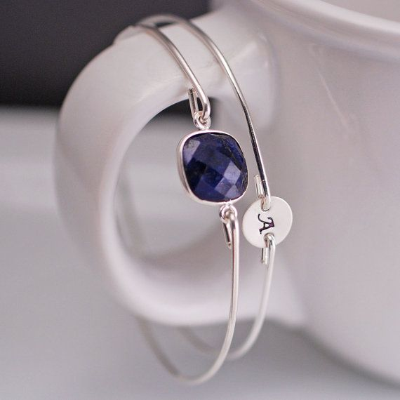 Sapphire Bracelet - Personalized Bangle Bracelet - September Birthstone by georgiedesigns