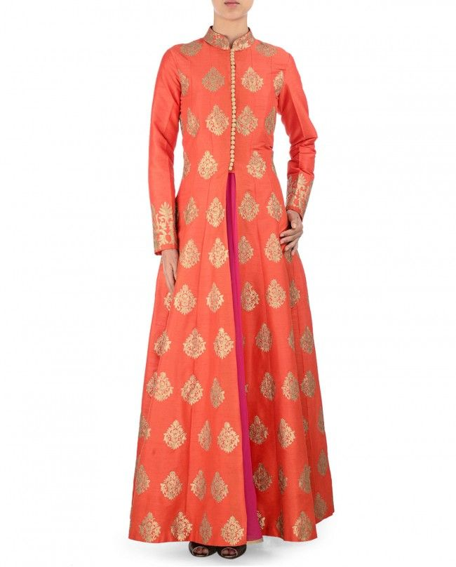 Aari Embroidered Orange Anarkali Jacket Set - Orange ankle length front open anarkali jacket. Aari work Mandarin collar with loop buttons on front. Long sleeves with embroidered cuffs. Golden aari work embroidered motifs adorn the anarkali jacket - SVA By Sonam & Paras Modi