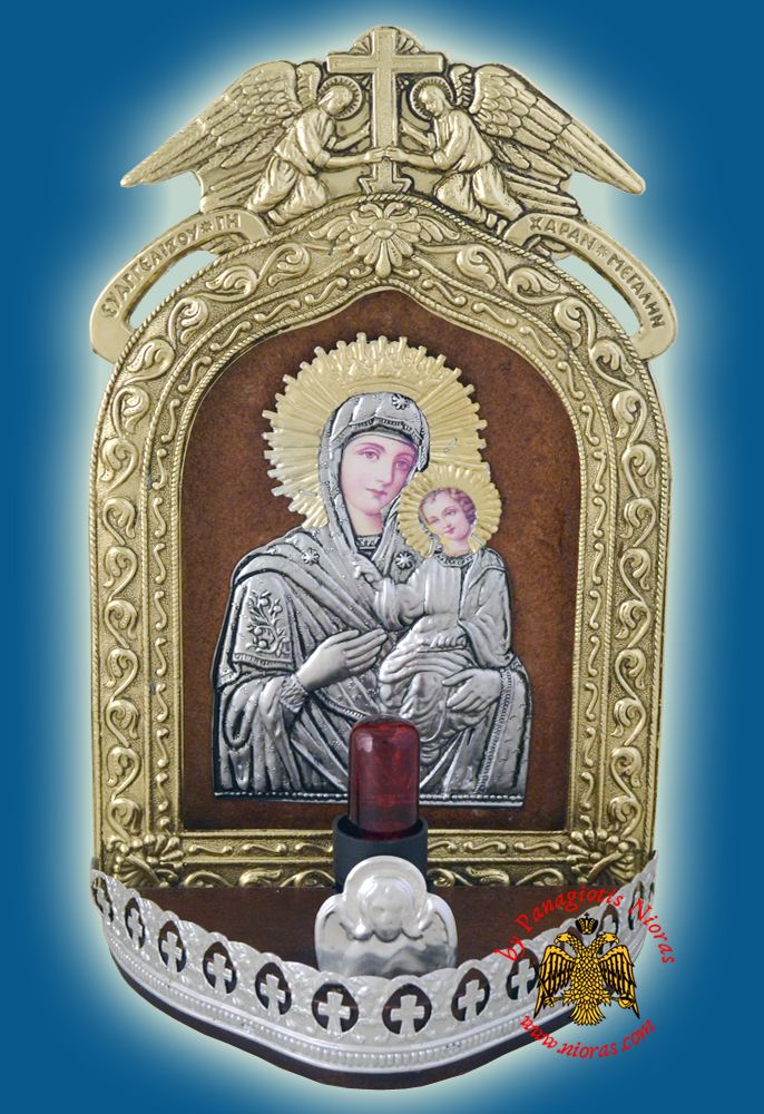 Electric Lamp Traditional Icon With Angel Frame Copy of Tinos Icon 15x28cm