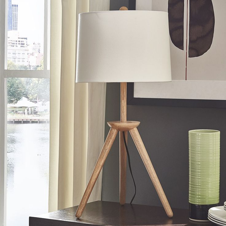 Kendall Modern Wood Tripod Table Lamp by MID-Century Living