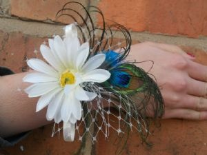 GERBERA FLAIR - Peacock Feather Wedding, Prom Wrist Corsage