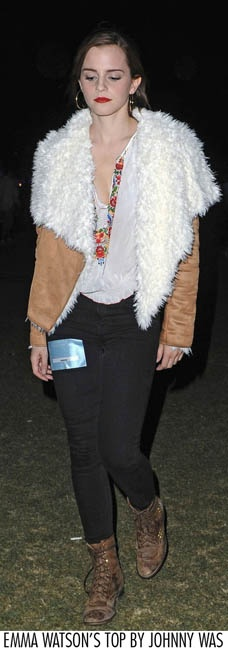 Emma Watson in Johnny Was Clothing at Coachella
