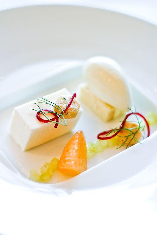Vanilla Génoise, Grapefruit Bavarois, Fennel Bulb Relish and Olio Verde Sorbet