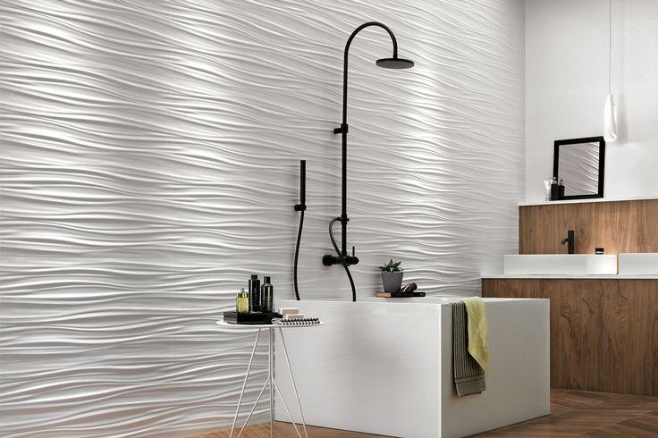 3d Wall Design White Matte Ribbon Wall Tile Http Www