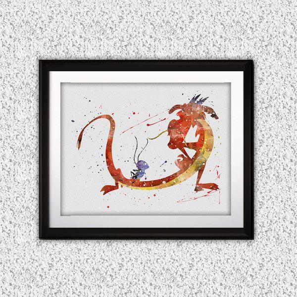Digital printing – Mulan dragon Mushu Disney Print poster Art – a unique product by DigitalAquamarine on DaWanda