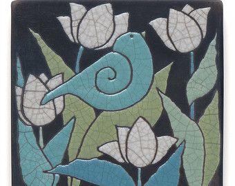 Arte de la pared Aqua turquesa aves cerámica por DavisVachon