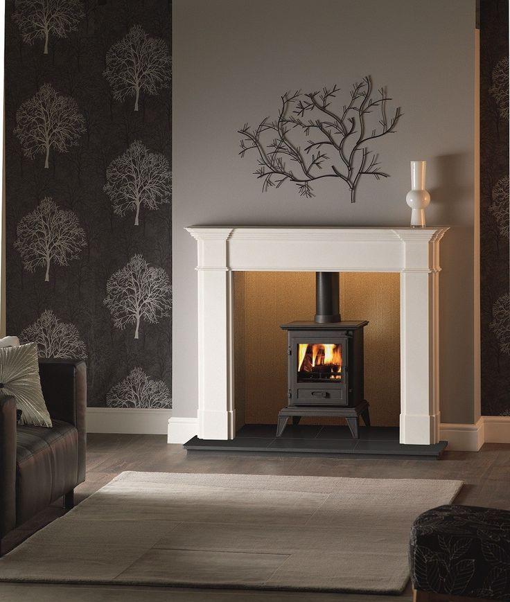 Love this - white grey and a black log burning fire