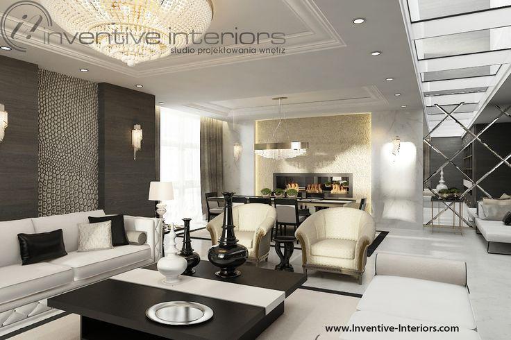 Projekt apartamentu 60m2 Inventive Interiors - złoty żyrandol w salonie - świetlik w salonie