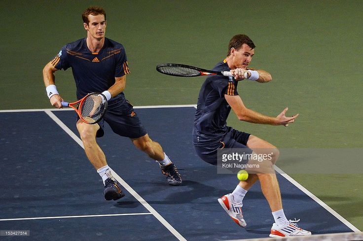 Andy Murray and Jamie Murray of Great Britain in action in their quater final match against Radek Stepanek of the Czech Republic and Leander Paes of India during day five of the Rakuten Open at Ariake Colosseum on October 5, 2012 in Tokyo, Japan.