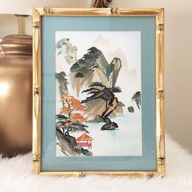 Original Japanese Bamboo Art #art #mixedmedia # #blue #gold #home #decor #tiffanyblue #bamboo